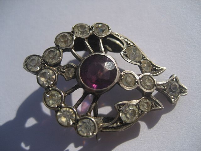 Antique Brooch Quartz Crystal with Genuine Deep Purple Amethyst ~ Victorian Period