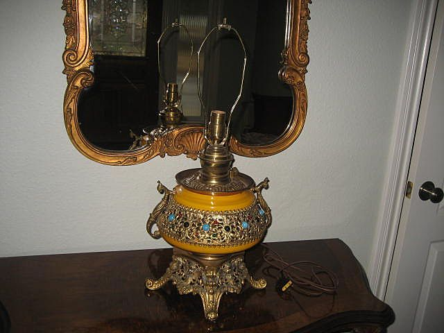 Spectacular Antique PLUME & ATWOOD ROYAL Brass Ormolu Jewel Encrusted Table Lamp with Winged Cherubs ~ Victorian Period
