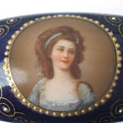 A Fabulous Antique Royal Vienna Hand Painted Miniature Portrait Porcelain Trinket / Jewelry Box Victorian Period