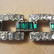 Vintage Silver Link Bracelet Emerald Green and Sparkly Diamond Colors Paste ~ Art Deco Period