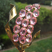 Shop Special! Beautiful Vintage Sterling Silver Coro Brooch with Big Beautiful Pink Rhinestones