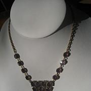 1/2 Price Shop Special! Exceptional Vintage Art Deco Period Czech Necklace with Beautiful Purple Hand cut Paste
