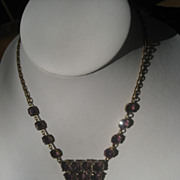 1/2 Price Shop Special! Exceptional Vintage Art Deco Period Czech Necklace with Beautiful Purple Hand cut Paste
