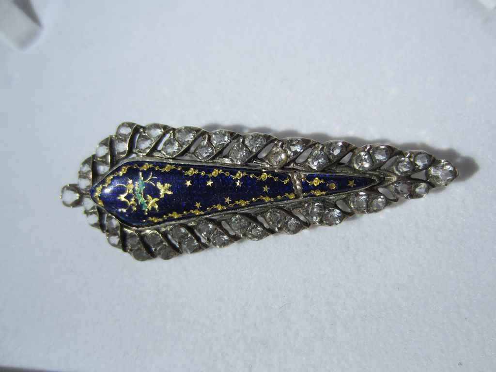 1/2 Price Antique Blue Enamel and Paste Silver Brooch ~ Victorian Period
