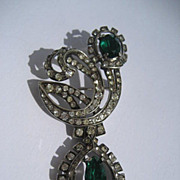 Vintage Early Eisenberg Sterling Silver Brooch Emerald Green Rhinestones and Paste