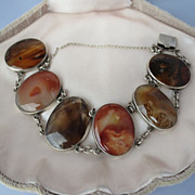 Shop Special! Antique Scottish Agate Link Bracelet in Sterling Silver ~ Multi Colors ~ Victorian Period