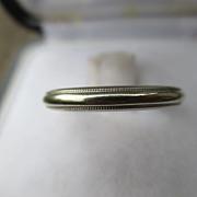 Vintage 14K White Gold Artcarved Wedding Band ring with Milgrain Edges