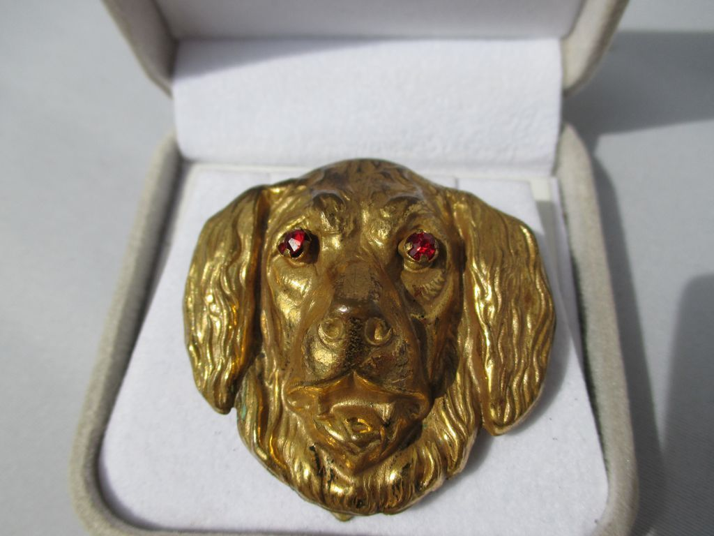 Vintage Highly Detailed Dog Dress Clip with Red Paste Eyes ~ Retro Period