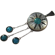 MOP Silver and Guilloche Enamel Arts and Crafts Pendant / Necklace ~ Art Deco Period