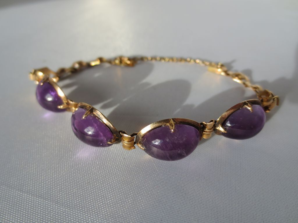Shop Special! Vintage Large Natural Amethyst Cab Bracelet in 18K Rose Gold ~ Retro Period