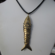 Very Large Vintage Solid 14K Gold Asian Koi Fish Pendant / Necklace