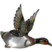 Vintage Coro Craft Lucite Jelly Belly Enamel Mallard Duck Brooch