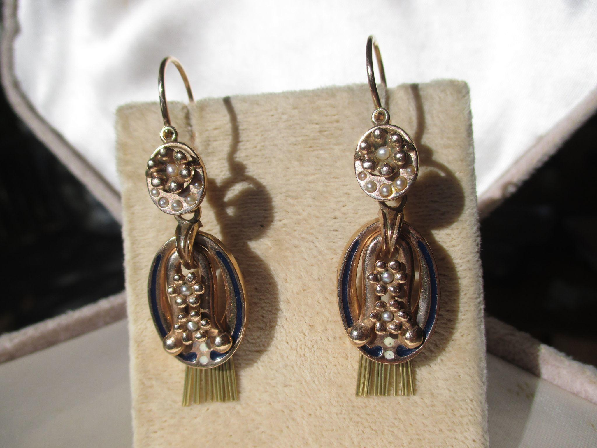 Shop Special! Antique True Day / Night Victorian Tassel Gold Pearl and Enamel Dangle Earrings