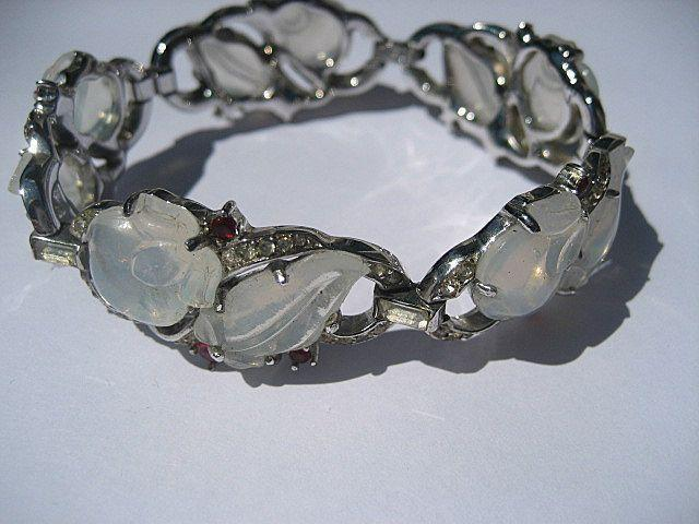 Early Vintage Fruit Salad Faux Moonstone and Ruby Red Rhinestone Trifari Bracelet