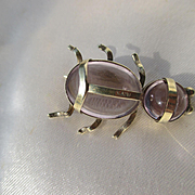 Shop Special! Wonderfully Rare Genuine Amethyst and 15K White Gold Insect Bug ~ Victorian Period