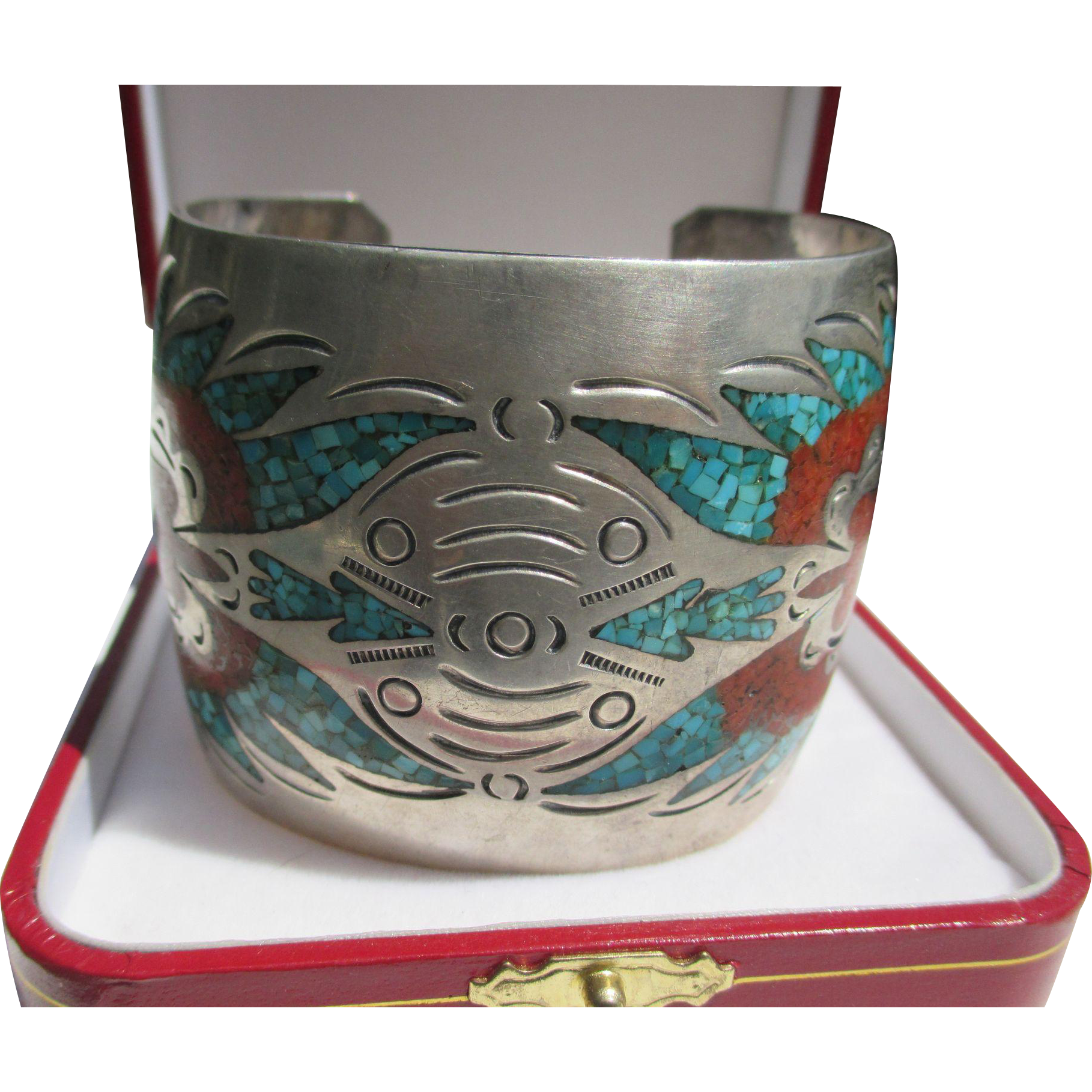 Super Wide Native American Cuff with Inlaid Coral and Turquoise ~ Sterling Silver ~ Retro Period