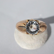 Shop Special! Antique 14K Rose Gold Solitaire Gypsy Set Paste Ring