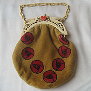 Vintage French Art Deco Celluloid Figural Purse Bag with Birds and Hearts All Original