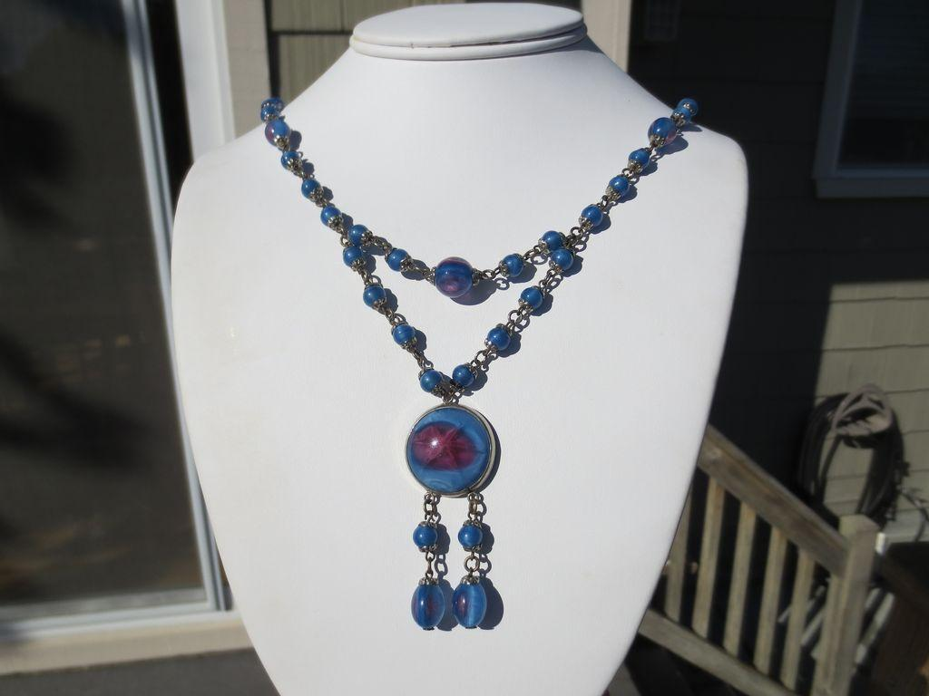 Exceptional Vintage Art Glass Czech Necklace Lavaliere ~ Art Deco