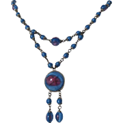 Exceptional Vintage Art Glass Czech Necklace Lavaliere ~ Art Deco