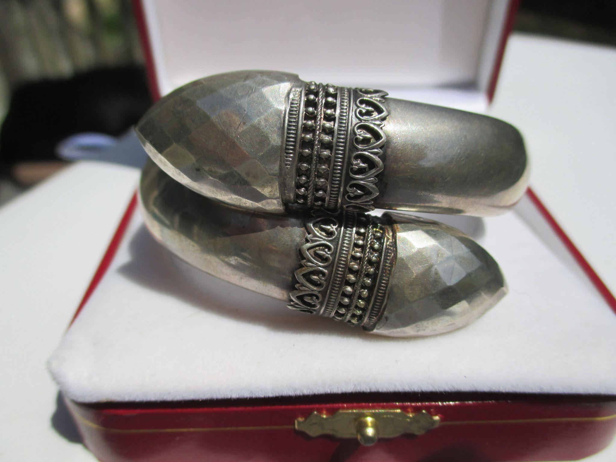 Really Unique Antique Double Headed Sterling Silver Snake Head Cross Over Bangle ~ Victorian Period