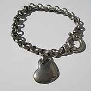 Vintage Italian Sterling Silver Belcher Charm bracelet with Heart charm..