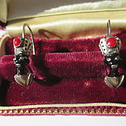 Pristine Antique Enamel and Silver African American Blackamoor Earrings ~ Edwardian Period