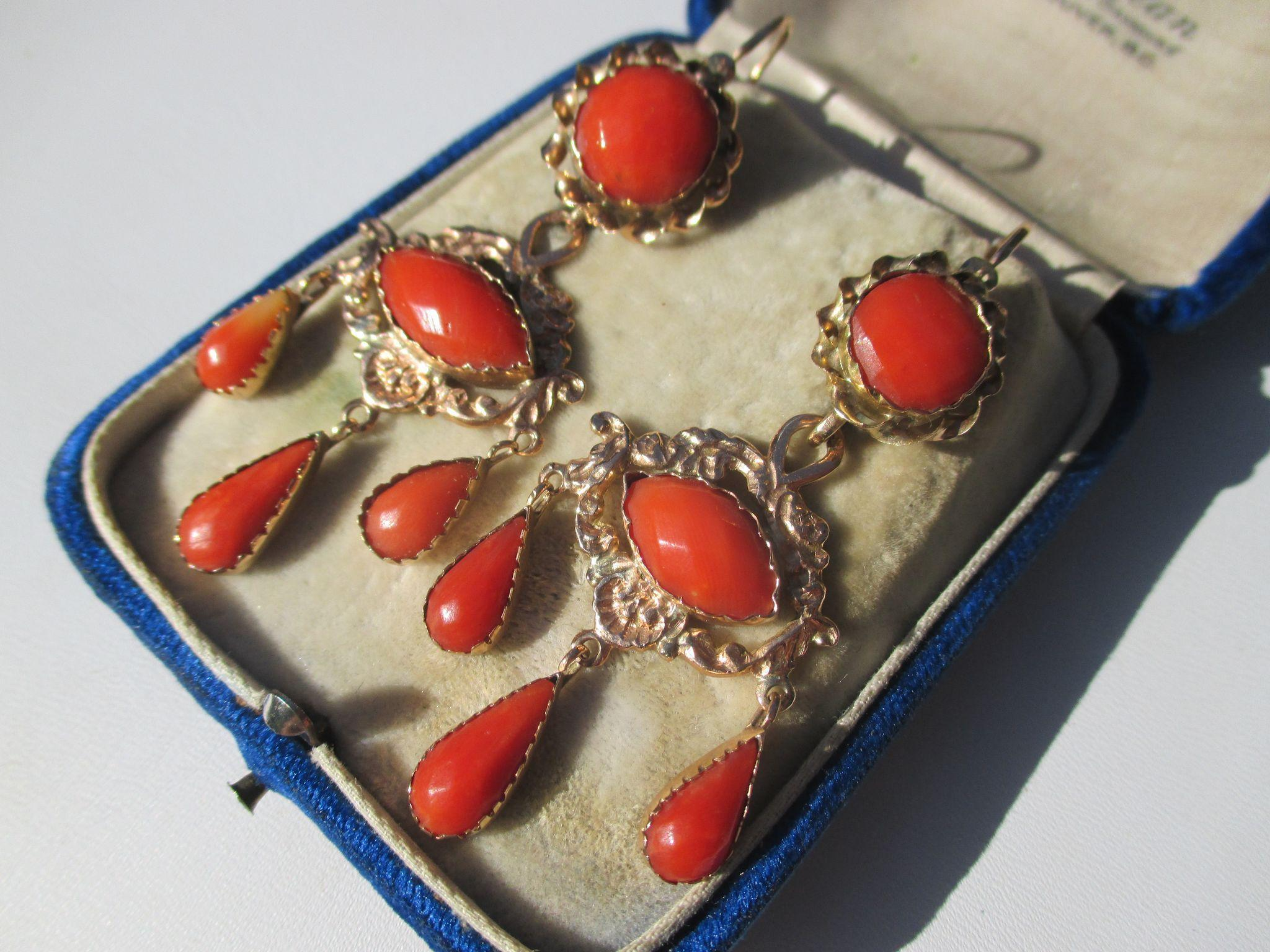 Antique Day / Night Natural Faceted Coral Girandole Earrings ~ Circa 1780