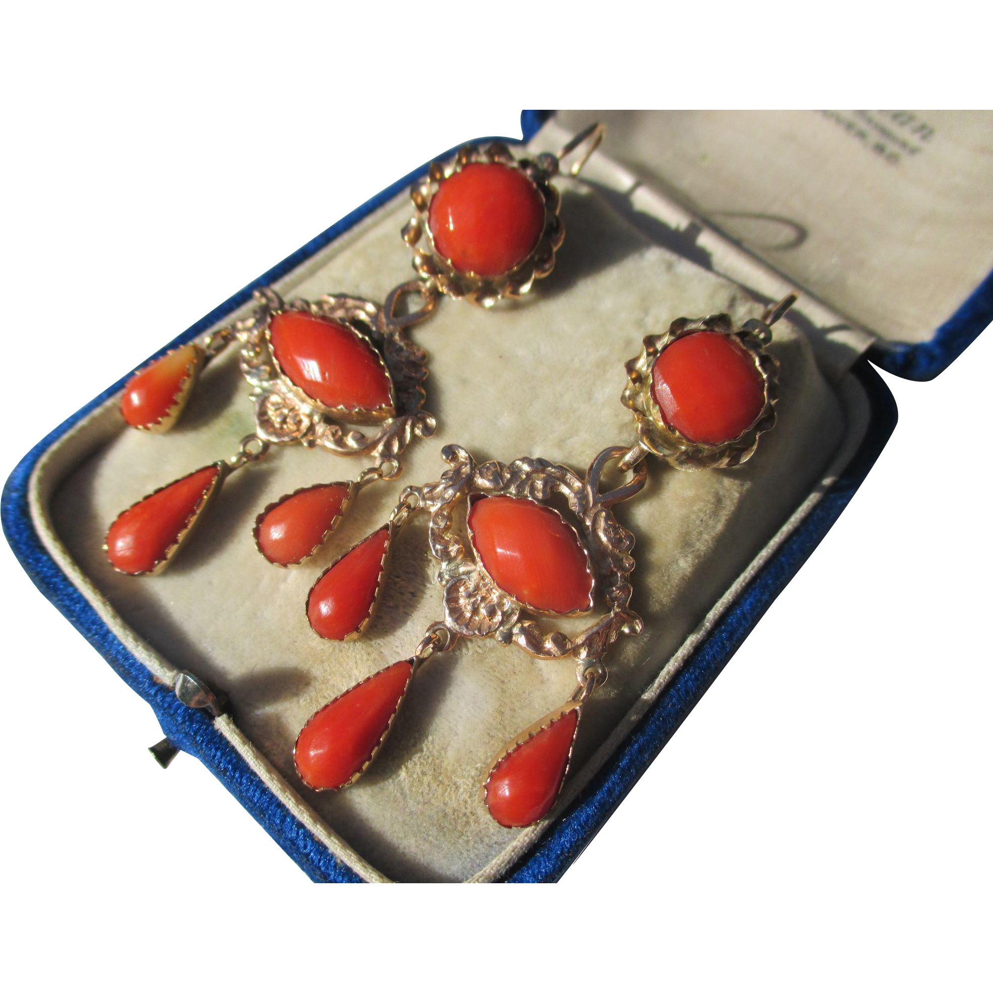 Shop Special! Antique Day / Night Natural Faceted Coral Girandole Earrings ~ Circa 1780