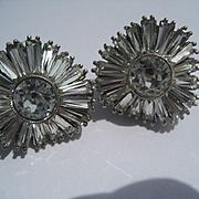 "Vintage Sterling Silver ""Ballerina"" Rhinestone Baguette Earrings Sparkle Galore"