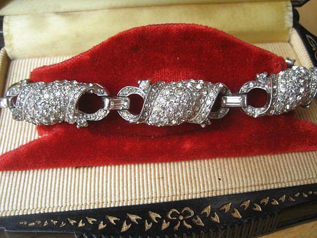 Shop Special! Vintage Art Deco Period Jomaz Rhinestone Link Bracelet