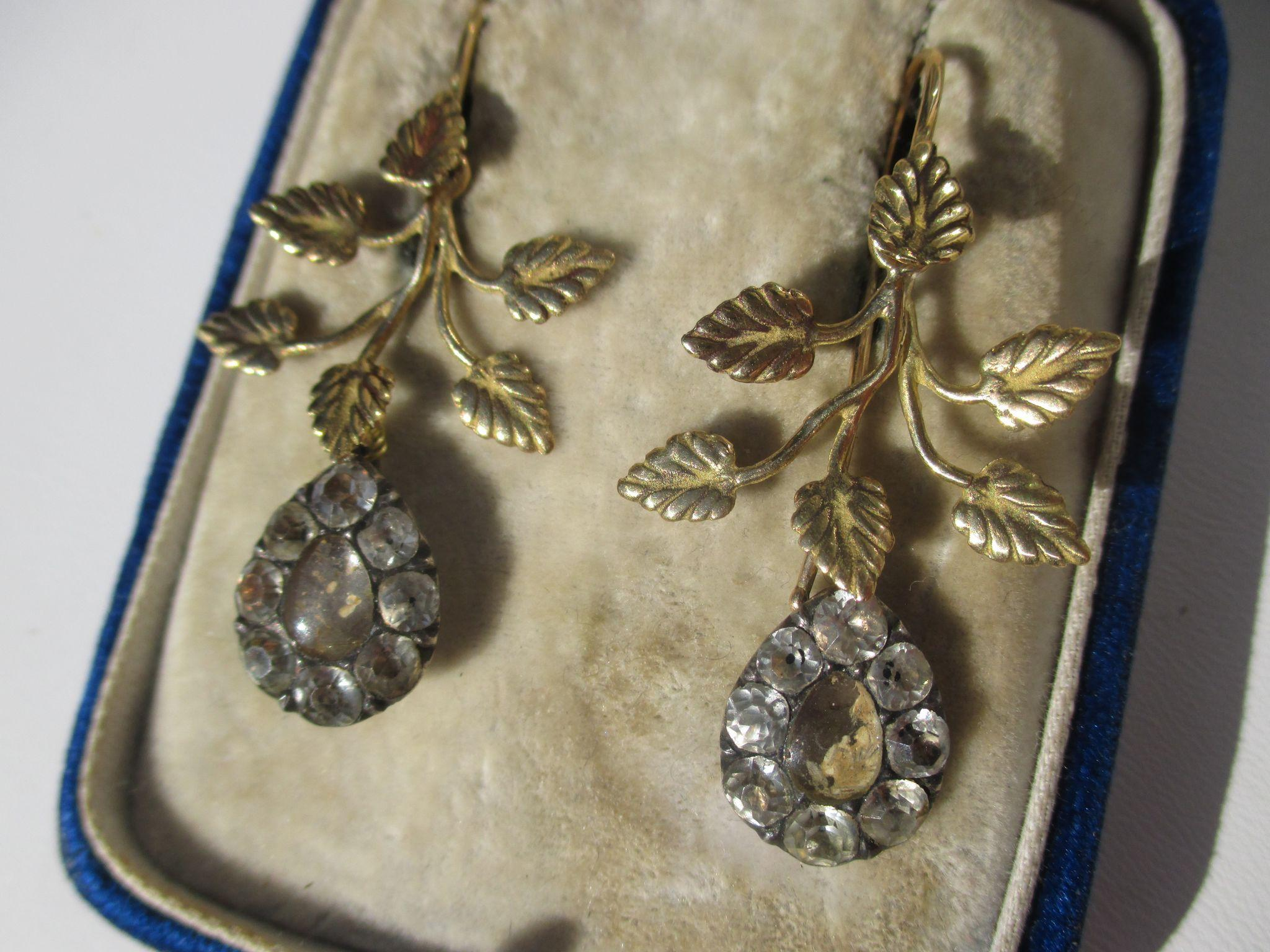 Shop Special! Rare Antique Black Dot Rock Crystal 18K Gold Dangle Earrings ~ Georgian Era