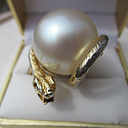 Shop Special! Huge Unique Vintage Faux Pearl Snake Ring ~ Outrageously Fun and Funky! Circa 1940