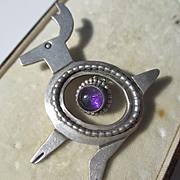 Lovely Vintage Sterling Silver Reindeer Brooch with large natural Dangling Amethyst ~