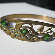 Antique Art Nouveau Brass and Green Paste Bangle ~ Circa 1900