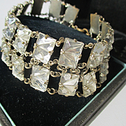 Beautiful Vintage Faceted Rock Crystal Link Bracelet ~ Egyptian Revival ~ Art Deco