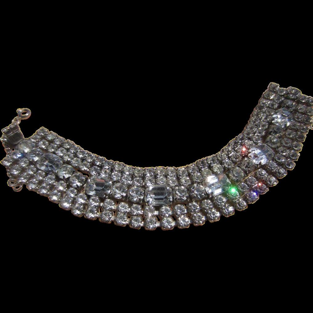 Vintage Glitzy 50's Wide Rhinestone Weiss 5 Row Bracelet