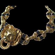 Rare Vintage Kenneth Jay Lane ~ KJL Lion Head Door Knocker necklace with Enamel Links ~ 1960's