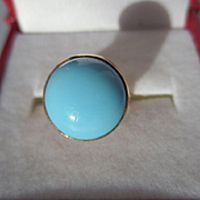 Antique Paste Cab ~ Turquoise Colored Cab Ring in 15K Rose Gold ~ Victorian Period