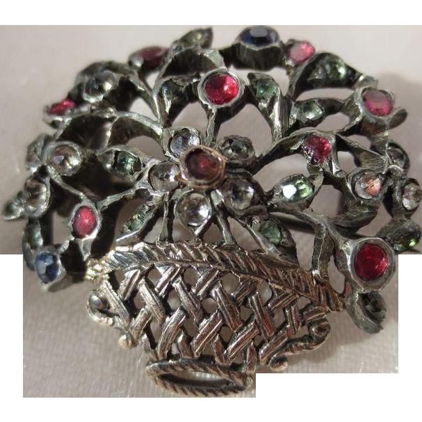 Antique French Giardinetti Silver Multi Colored Genuine Gemstone Brooch ~ Victorian Period
