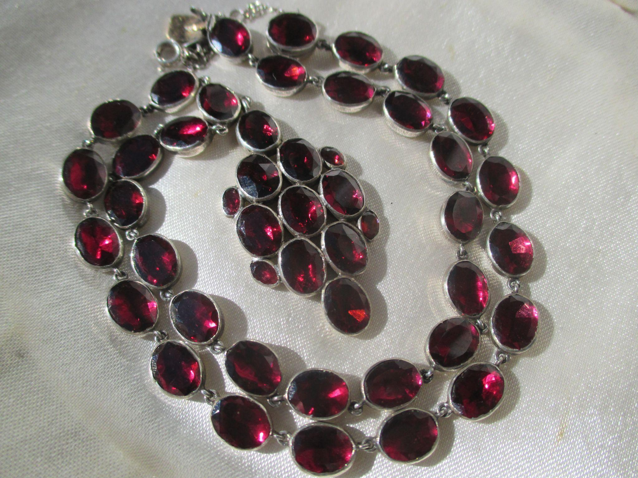 Shop Special! Antique Georgian Riviere Natural Garnet Necklace ~ Pendant ~ Georgian Era