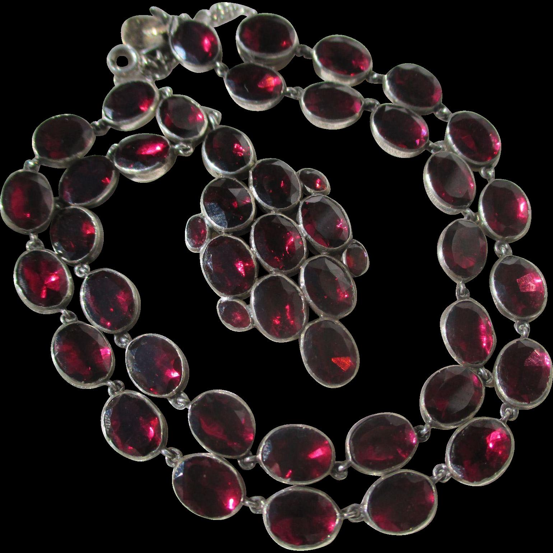 Shop Special! Antique Georgian Riviere Natural Garnet Necklace ~ Pendant ~ Georgian Era