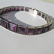Vintage BIG Purple Amethyst Paste Art Deco Bracelet in Sterling