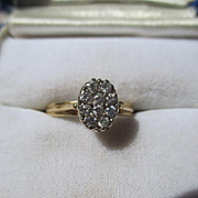 SHOP Special! Antique Edwardian Cluster Diamond Ring 14K Yellow Gold
