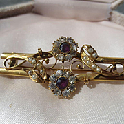 Antique Large Gold Brooch with Natural Amethyst Paste and Natural Pearls ~ Victorian Period