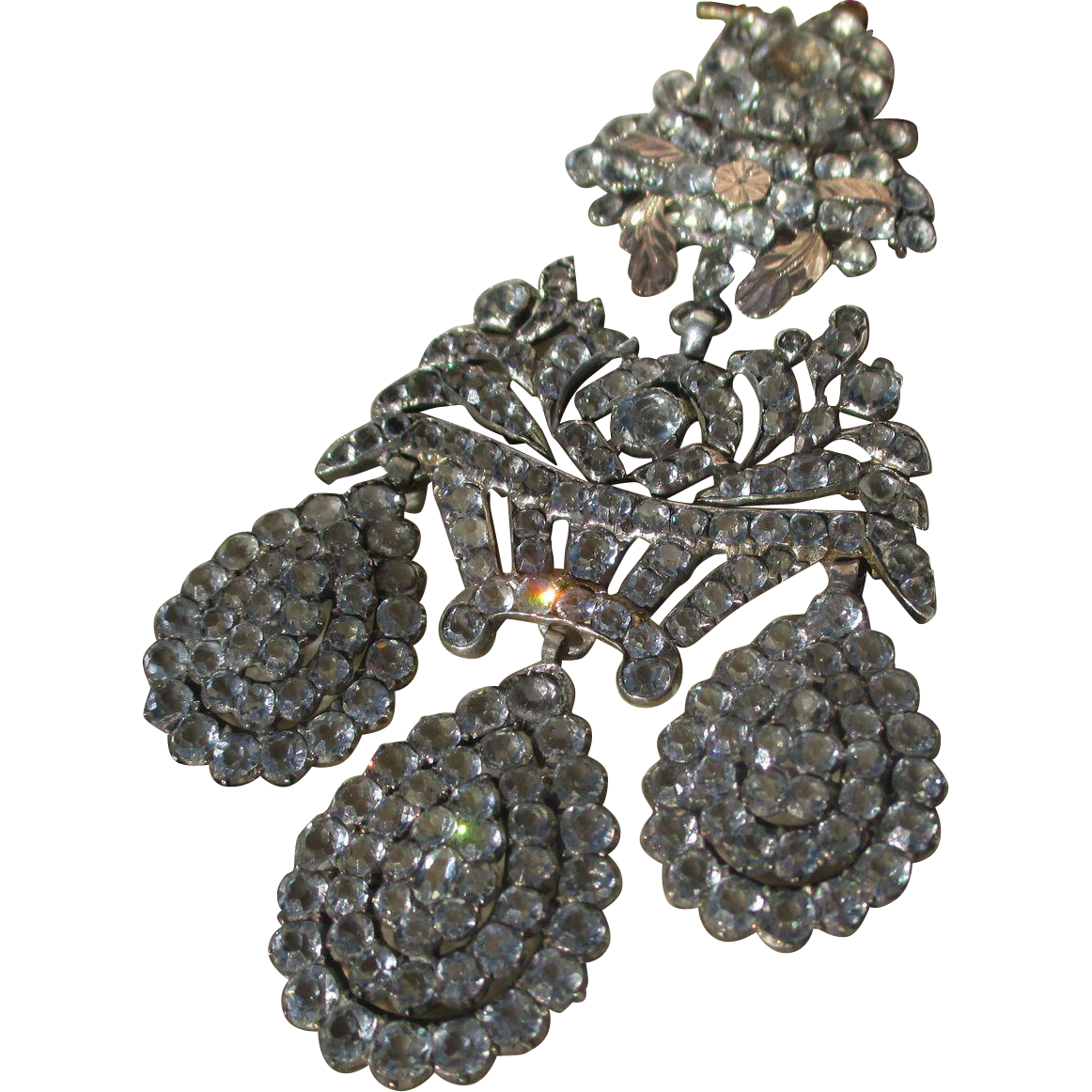 Shop Special! Museum Quality ~ Antique Paste Girandole in Original Fitted Box ~ Pendant ~ Brooch ~ Georgian Era