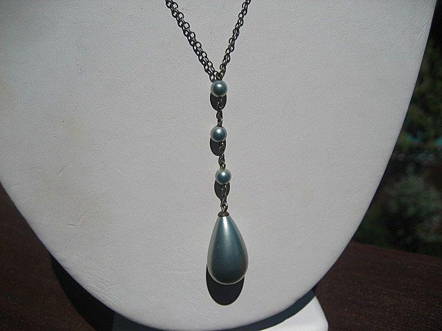Vintage Blue Faux Pearl Drop Flapper Necklace Sterling Silver ~ Art Deco Period