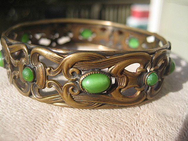 Antique Brass and Jade Colored Art Glass ~ Nouveau Bangle ~ Bracelet