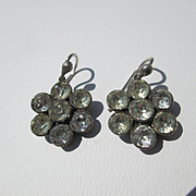 Shop Special! Antique Cluster Paste Earrings in Sterling Silver ~ Victorian Period