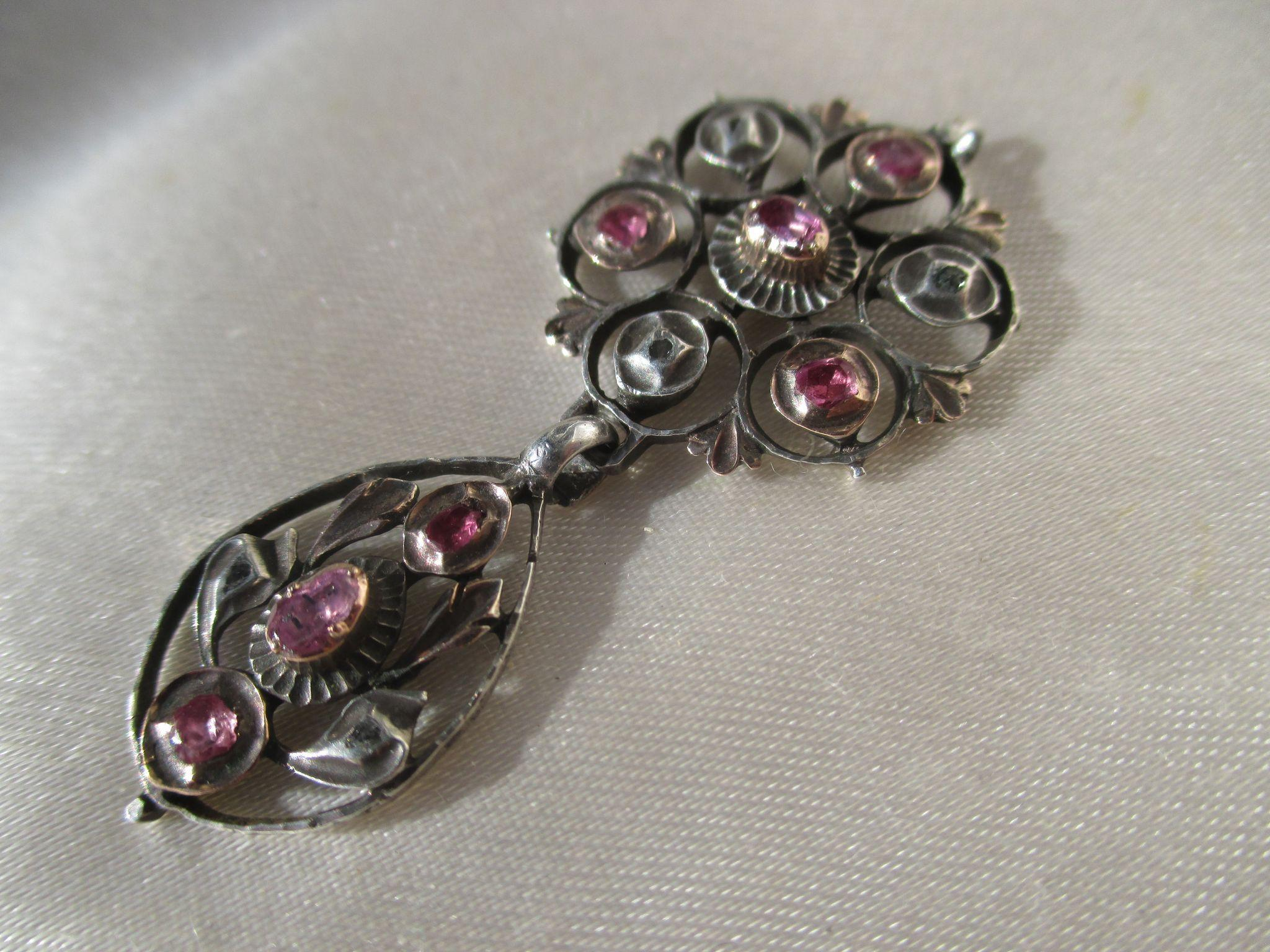 Antique Italian Natural Ruby and Diamond Pendant ~ Georgian Era